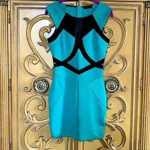 CALS bodycon dress turquoise & black design guc S